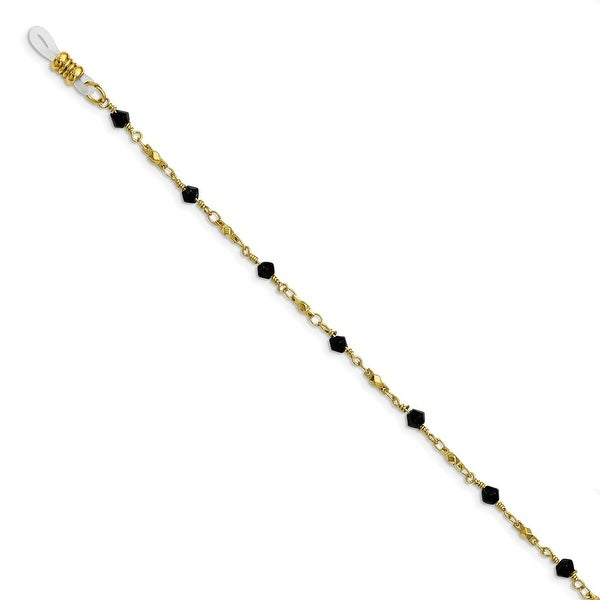 Goldtone Black Glass Beaded Eyewear Holder Necklace - 32in