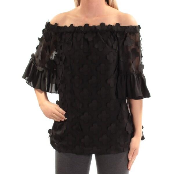 Womens Black Short Sleeve Off Shoulder Top Size 4