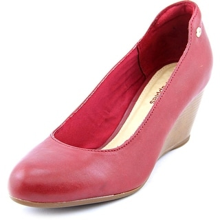 Hush Puppies Bella Setti Women Open Toe Leather Red Wedge Heel