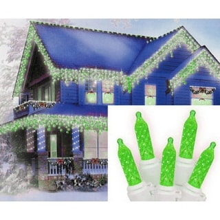 Set of 70 Green LED M5 Icicle Christmas Lights - White Wire