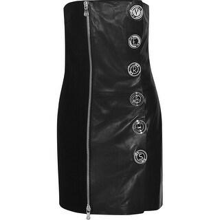 VERSUS VERSACE Embellished crepe-paneled leather mini dress - 0
