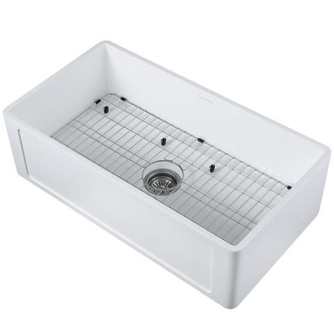 Ancona Holbrook Pure Stone Farmhouse 33 in. Single Bowl Kitchen Sink in White