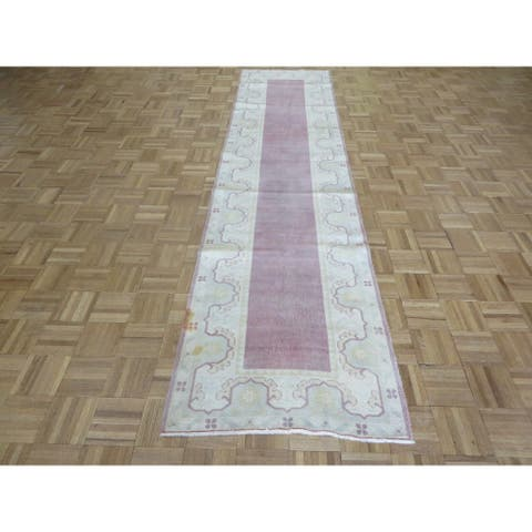 """Hand Knotted Purple Turkish with Wool Oriental Rug (2'7"""" x 10'8"""") - 2'7"""" x 10'8"""""""