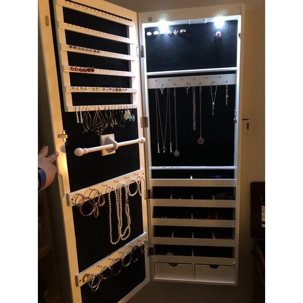 Costway Lockable Wall Mount Mirrored Jewelry Cabinet Organizer