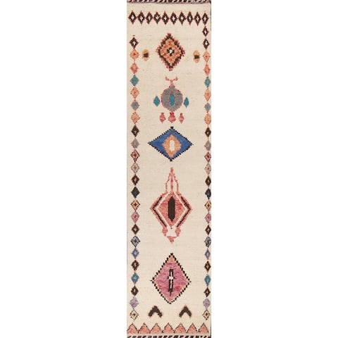 """Tribal Moroccan Geometric Runner Rug Wool Hand-knotted Oriental Carpet - 2'11"""" x 12'10"""""""