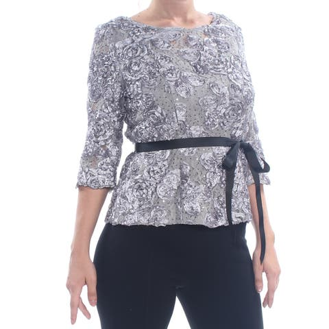 ALEX EVENINGS Womens Gray Lace Sequined 3/4 Sleeve Top Size: S
