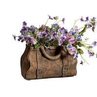 Gladstone Bag Planter - Satchel Handbag Shaped Cast Cement Flower Planter - 12 in. x 8 in. x 7 in.