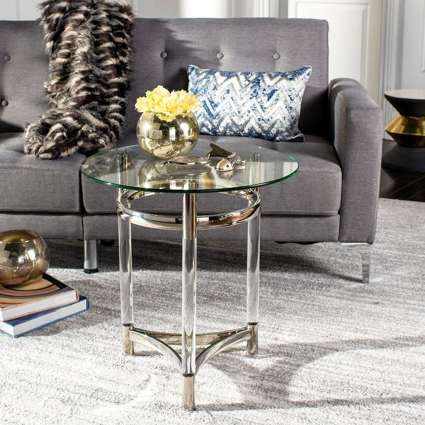"""SAFAVIEH Couture Letty Round Glass End Table- Clear - 20"""" W x 20"""" L x 22"""" H. Opens flyout."""