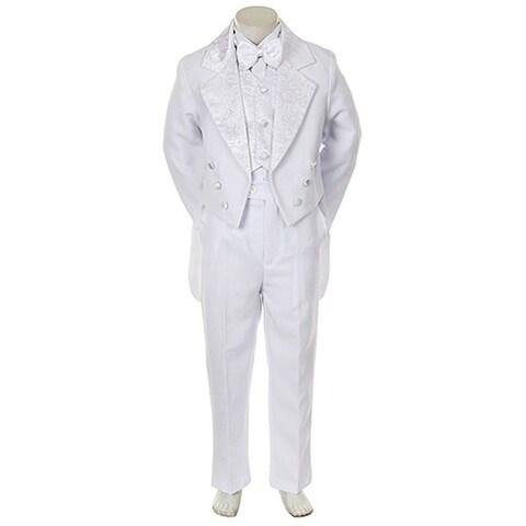 Angels Garment Toddler Little Boys White Notched Tuxedo 5 Pc Set 6M-20