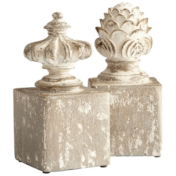 "Cyan Design 8691 Victoria 11"" Tall Cement Bookends - Set of 2 - Antique White - N/A"