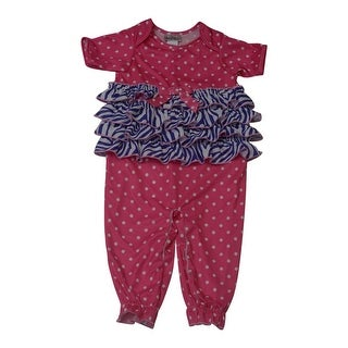 Laura Dare Baby Girls Multi Color Dot Zebra Print Ruffle Jumpsuit Pajama 12M