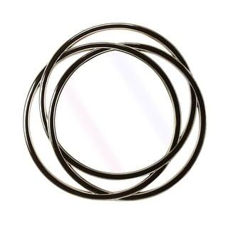 Modern Distressed Round Wall Mirror - Black