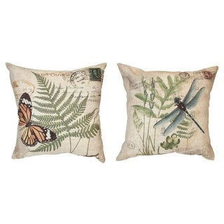 """Set of 2 Dragonfly and Butterfly Postcard Square Canvas Accent Throw Pillows 15"""""""