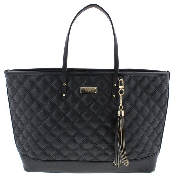 BCBG Paris Womens New Rise Tote Handbag Faux Leather Quilted - Extra large