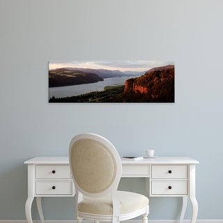 Easy Art Prints Panoramic Image 'River flowing, Columbia River Gorge, Crown Point, Columbia River, Oregon' Canvas Art
