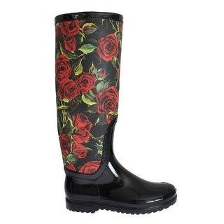Dolce & Gabbana Black Roses Rubber Rain Boots - 41