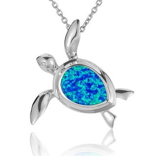 """Sterling Silver Honu Pendant with Opal Inlay 18"""" Necklace"""
