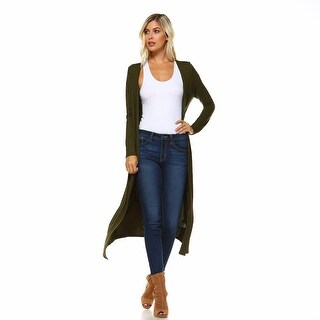 Isaac Liev Extra Long Soft Open Front Flyaway Cardigan
