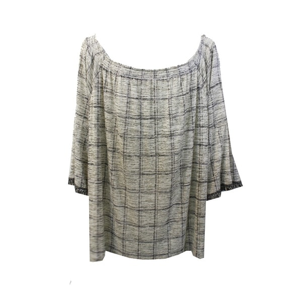 8f0c75668b74df Shop Style   Co Plus Size Light Beige Printed Fringe-Sleeve Off-The ...