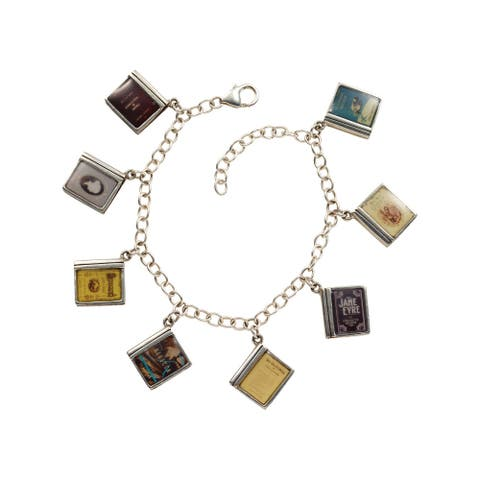 Floriana Women's Classic Literature Charm Bracelet with 8 Miniature Book Charms - Multicolor
