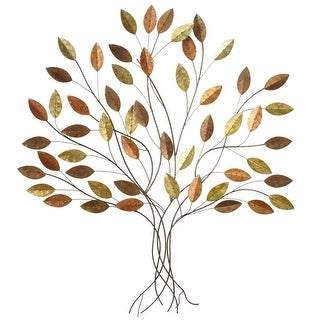 """Set of 2 Copper and Gold Colored Metallic Leaves Layered Tree Wall Decor 39"""""""