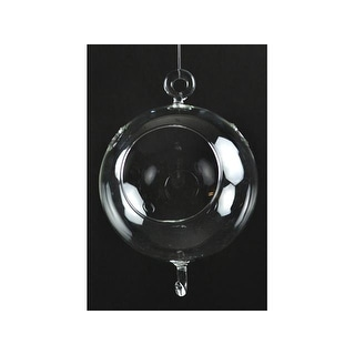 "Midwest Design Glass Hanging Ball 6"" w/2 hooks 1pc"