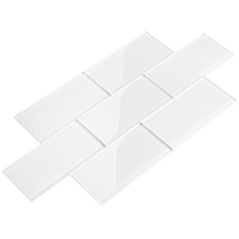Bright White 3x6 Glass Subway Tiles