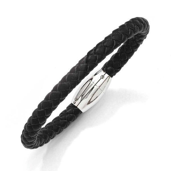 Stainless Steel Black Leather 8.5in Bracelet