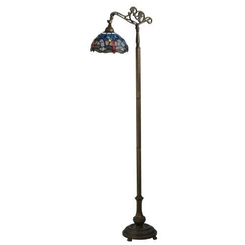 """Meyda Tiffany 119648 63"""" H Tiffany Hanginghead Dragonfly Bridge Arm Floor Lamp - flame beige"""
