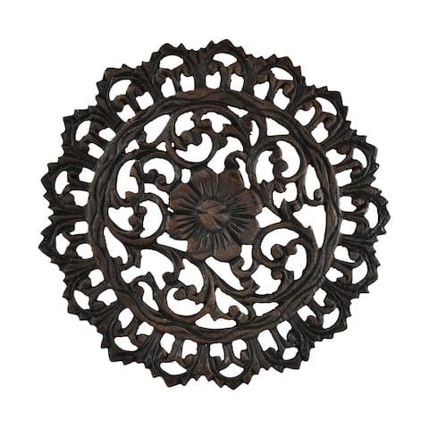 Handmade Striking Swirls Floral Inspired Carved Teak Wood Round Wall Art (Thailand) - Brown