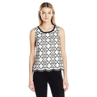 Nine West Geometric Lace Sleeveless Top Blouse (2 options available)