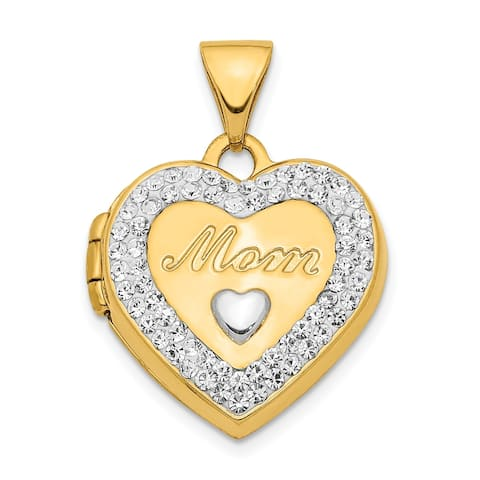 14K Yellow Gold with White Rhodium-plated Crystal 16mm Mom Heart Locket Pendant with 18-inch Cable Chain By Versil