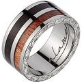 Titanium Wedding Band With Koa & Macassar Wood Inlay 8mm - Thumbnail 0