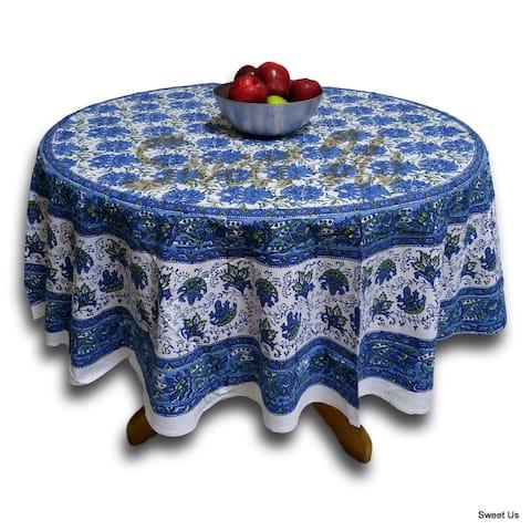Lotus Flower Block Print Cotton Floral Tablecloth Rectangular Round Square Napkins Blue Green