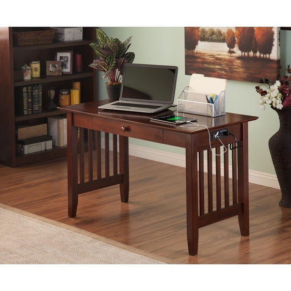 Walnut Brown 1-drawer Mission Desk with USB Outlets. Opens flyout.