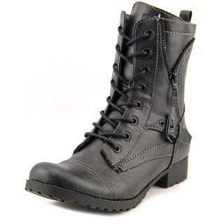 G By Guess Brylee Women Round Toe Synthetic Black Combat Boot
