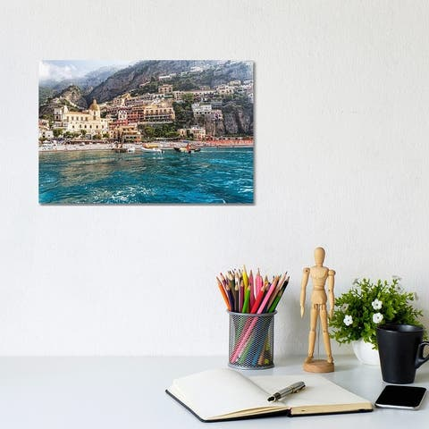 """iCanvas """"Low Angle View of Positano from The Sea, Amalfi Coast, Campania, Italy"""" by George Oze Canvas Print"""