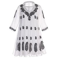 Catalog Classics Women's White Organza Tunic Top With Black Paisley Embroidery