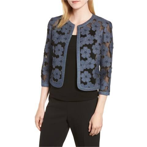 Anne Klein Womens Mesh Cardigan Sweater, Black, 14