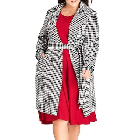 City Chic Women's Coat Black 16W Plus Sherlock Double Breasted Trench