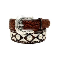 Ariat Western Belt Men Tooled Diamond Conchos Berry Studs Tan