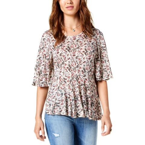 Lucky Brand Womens Blouse Printed Flutter Sleeves