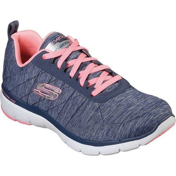 c5d39af43e28f Shop Skechers Women's Flex Appeal 3.0 Insiders Sneaker Navy/Coral ...