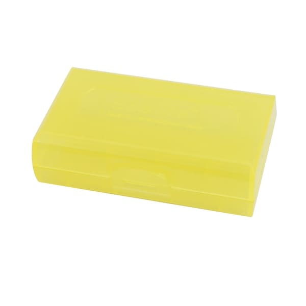 72mmx44mmx22mm Hard Plastic Battery Storage Case Holder Organizer Yellow