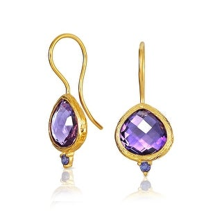 Bling Jewelry 925 Silver Brazilian Amethyst Iolite Drop Earrings - Purple