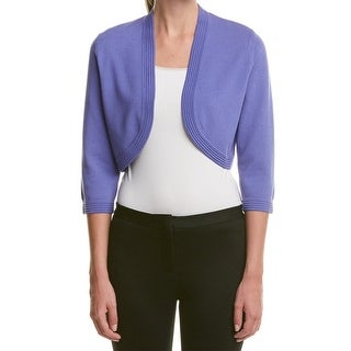 Anne Klein NEW Blue Womens Size Medium M Open-Front Cropped Cardigan