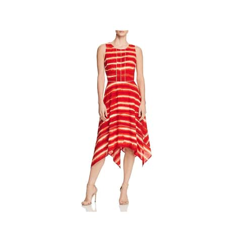 Donna Karan Womens Midi Dress Sleeveless Tie-Dye