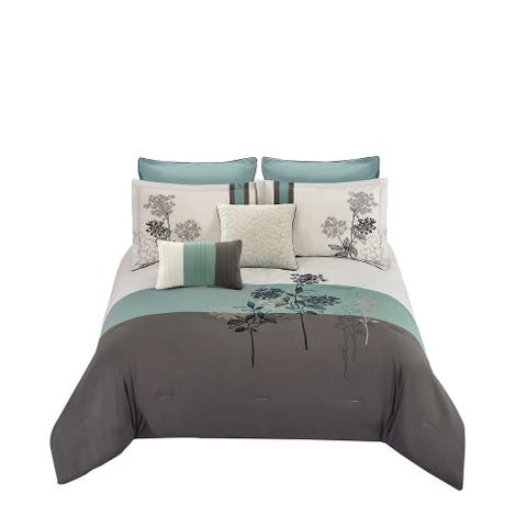 8 Piece Queen Polyester Comforter Set with Floral Embroidery, Multicolor