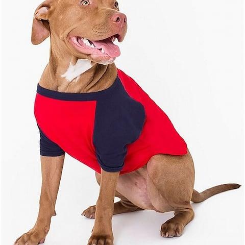 American Apparel Dog T-Shirt Red Blue Size Large L Raglan Two-Tone