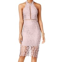 Bardot Womens Lace Illusion Halter Sheath Dress